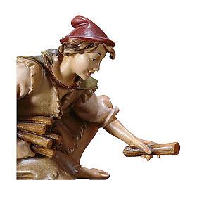 Pastore inginocchiato con legna presepe Original legno dipinto Valgardena 10 cm s2