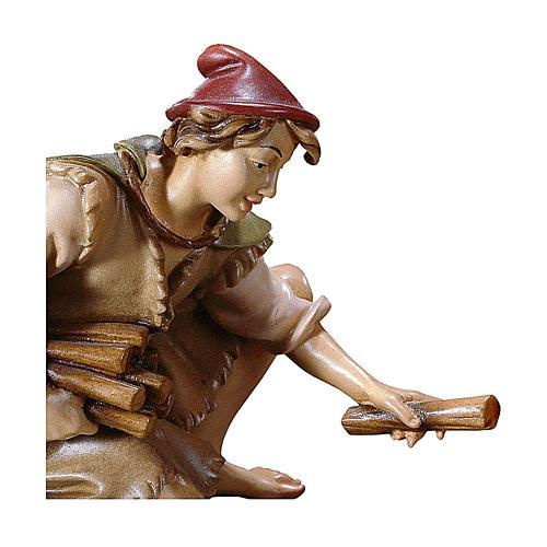 Pastore inginocchiato con legna presepe Original legno dipinto Valgardena 10 cm 2