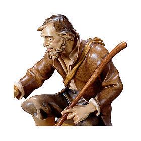 Pastore seduto con bastone presepe Original legno dipinto Valgardena 10 cm s2