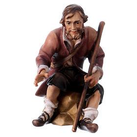 Belén Val Gardena: Pastor sentado con bastón belén Original madera pintada Val Gardena 12 cm de altura media