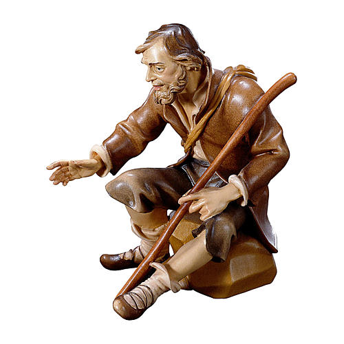 Pastore seduto con bastone presepe Original legno dipinto Valgardena 12 cm 1