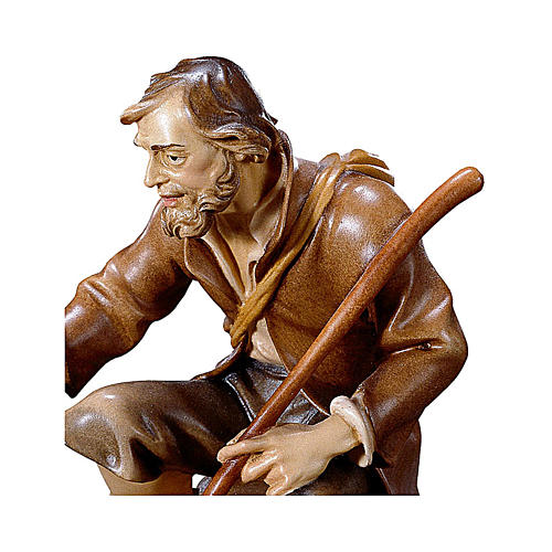 Pastore seduto con bastone presepe Original legno dipinto Valgardena 12 cm 2