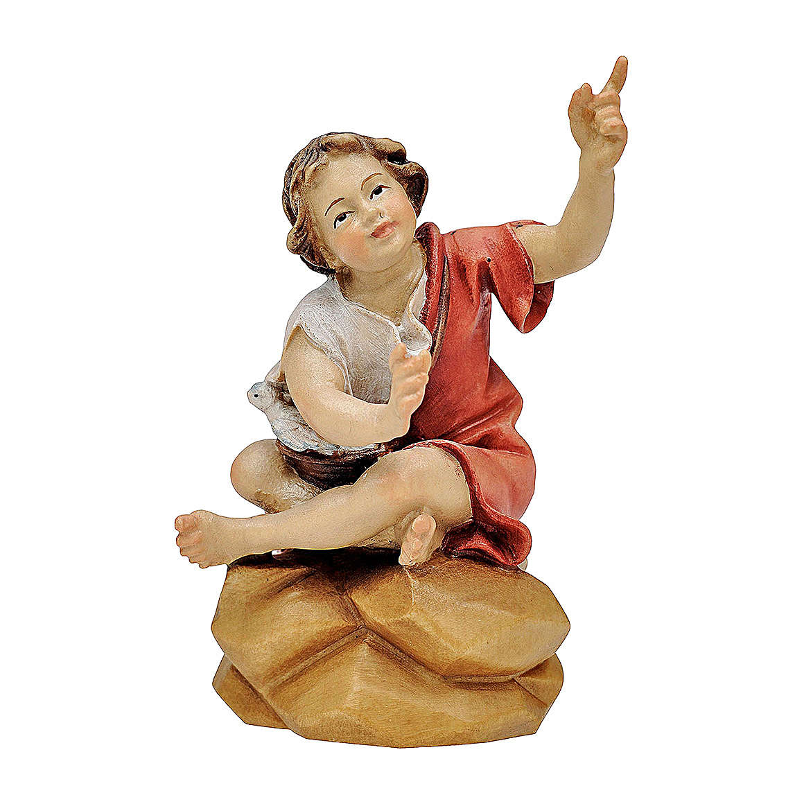 Bambino seduto al falò presepe Original legno dipinto Valgardena 12 cm 4
