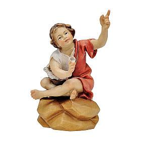 Bambino seduto al falò presepe Original legno dipinto Valgardena 12 cm s1
