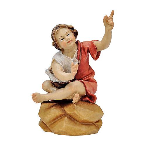 Bambino seduto al falò presepe Original legno dipinto Valgardena 12 cm 1