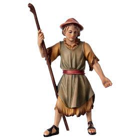 Belén Val Gardena: Pastor que tira belén Original madera pintada Val Gardena 12 cm