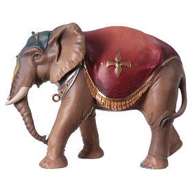 Belén Val Gardena: Elefante de pie madera belén Original madera pintada Val Gardena 12 cm