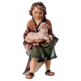 Belén Val Gardena: Niño con cordero belén Original madera pintada Val Gardena 12 cm de altura media