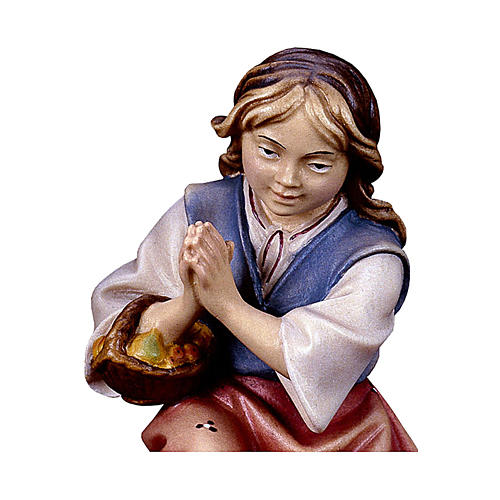 Bambina inginocchiata che prega presepe Original legno dipinto Valgardena 10 cm 2