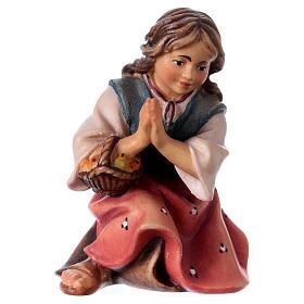 Belén Val Gardena: Niño de rodillas que reza belén Original madera pintada Val Gardena 12 cm de altura media