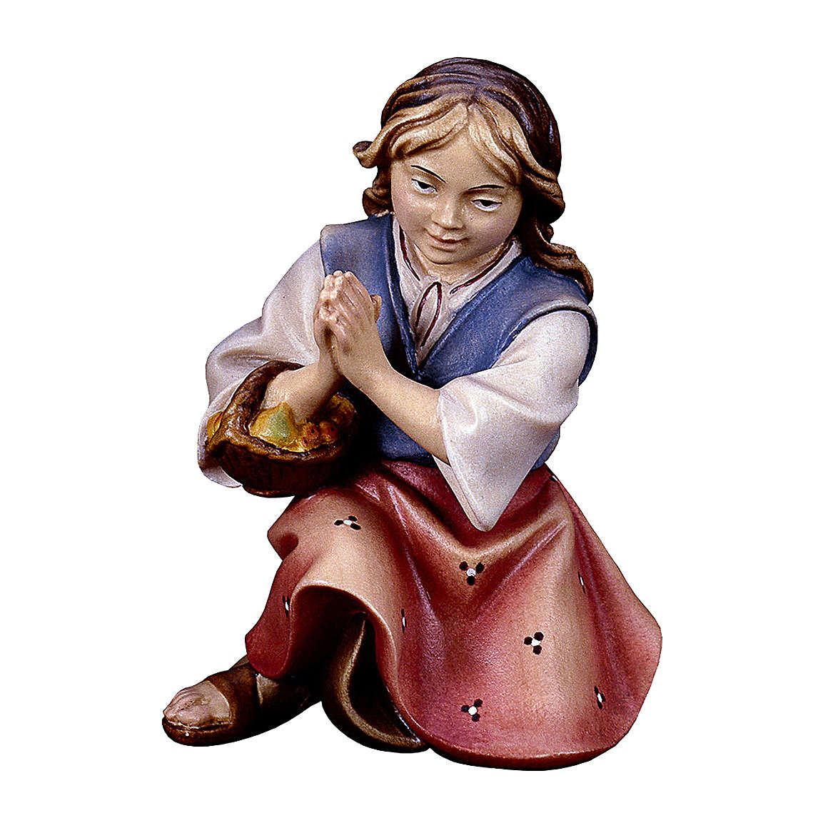 Bambina inginocchiata che prega presepe Original legno dipinto Valgardena 12 cm 4
