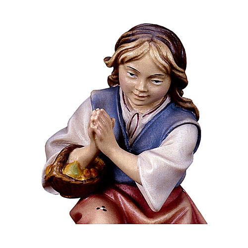 Bambina inginocchiata che prega presepe Original legno dipinto Valgardena 12 cm 2