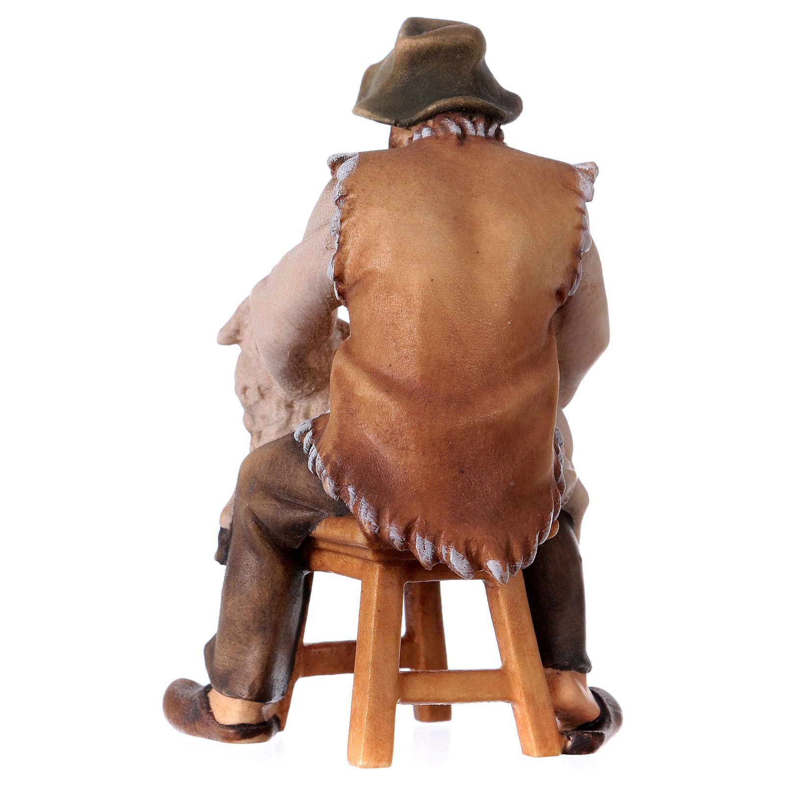 Pecoraio seduto presepe Original legno dipinto Valgardena 12 cm 4