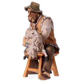 Pecoraio seduto presepe Original legno dipinto Valgardena 12 cm s2