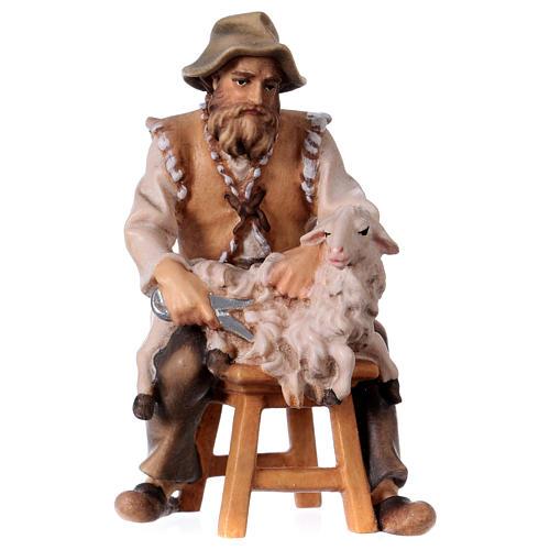 Pecoraio seduto presepe Original legno dipinto Valgardena 12 cm 1