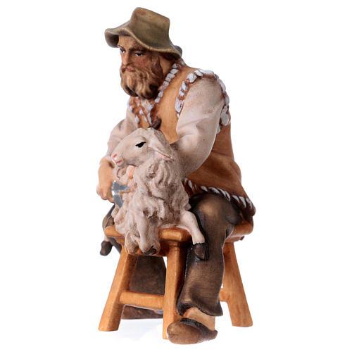 Pecoraio seduto presepe Original legno dipinto Valgardena 12 cm 2