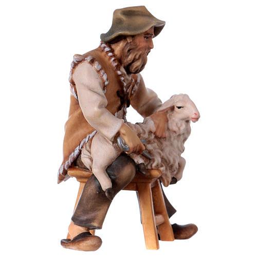 Pecoraio seduto presepe Original legno dipinto Valgardena 12 cm 3
