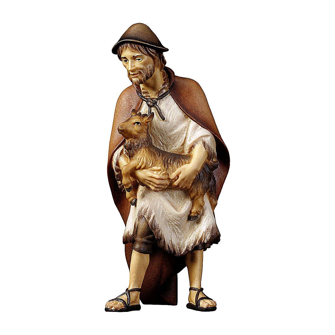 Pastore con capretta presepe Original legno dipinto Valgardena 12 cm 4