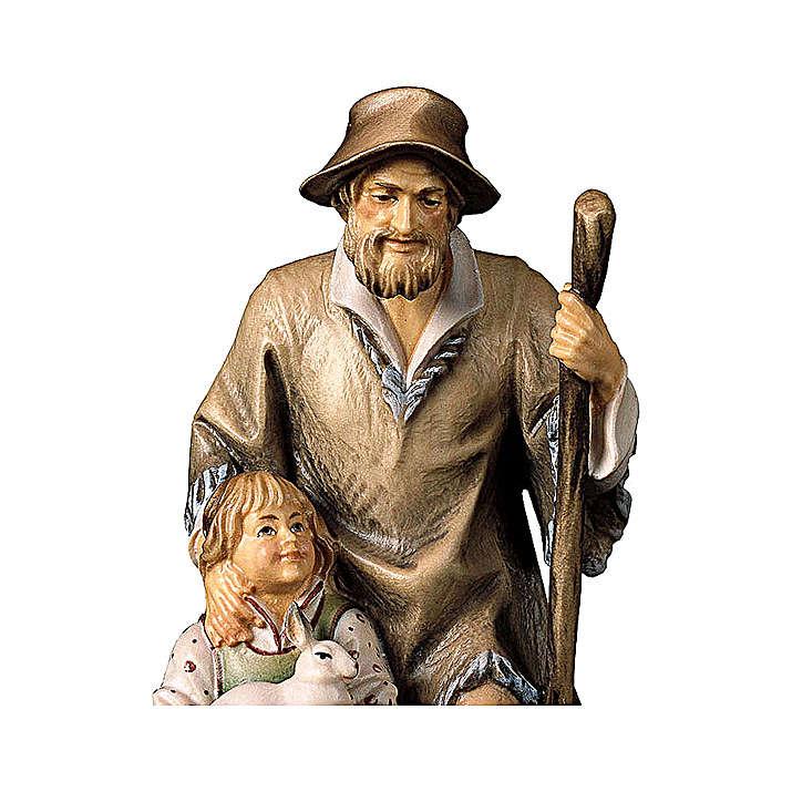 Pastore con bambina presepe Original legno dipinto Valgardena 10 cm 4