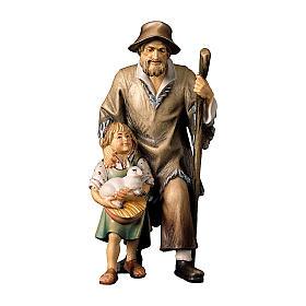 Pastore con bambina presepe Original legno dipinto Valgardena 10 cm s1