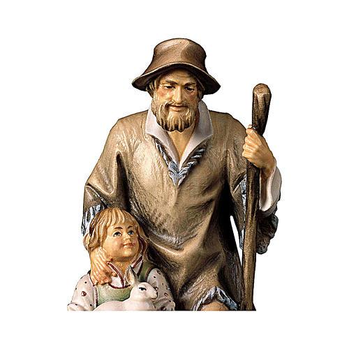 Pastore con bambina presepe Original legno dipinto Valgardena 10 cm 2