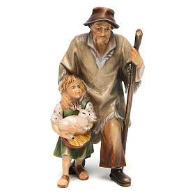 Belén Val Gardena: Pastor con niña belén Original madera pintada Val Gardena 12 cm de altura media