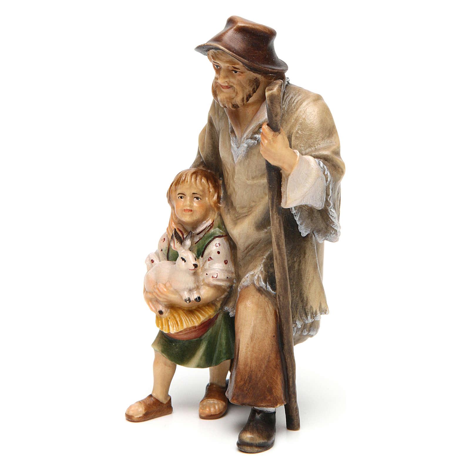 Pastore con bambina presepe Original legno dipinto Valgardena 12 cm 4
