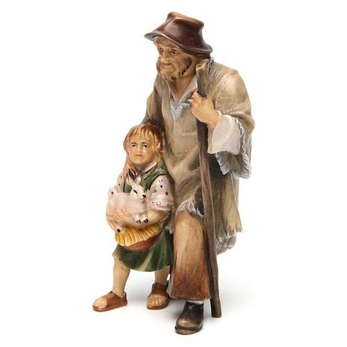 Pastore con bambina presepe Original legno dipinto Valgardena 12 cm 2