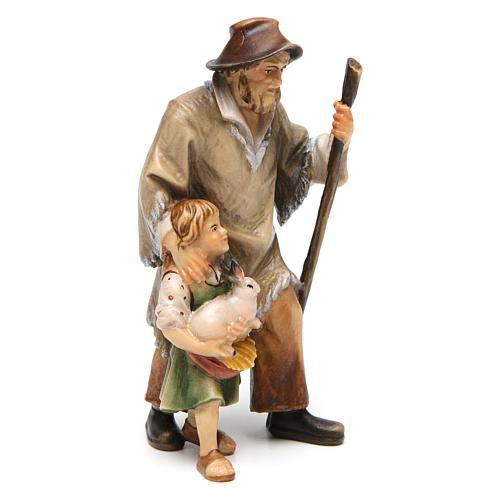 Pastore con bambina presepe Original legno dipinto Valgardena 12 cm 3