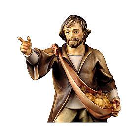Pastore indicante presepe Original legno dipinto Valgardena 10 cm s2