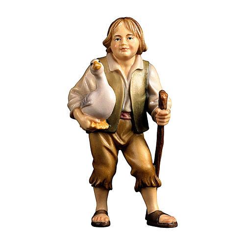 Bambino con oca presepe Original legno dipinto Valgardena 10 cm 1