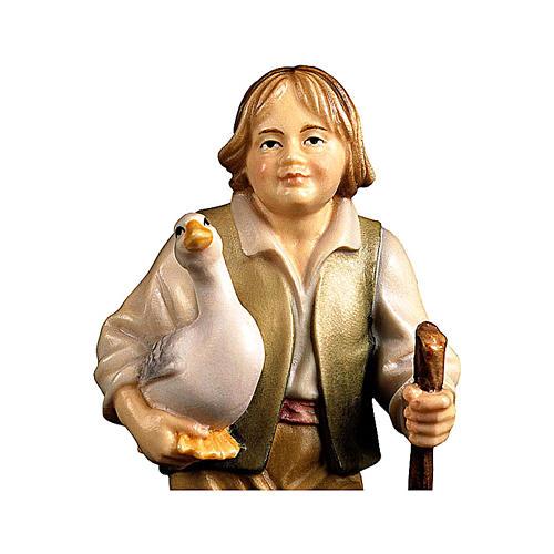 Bambino con oca presepe Original legno dipinto Valgardena 10 cm 2