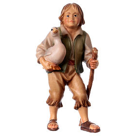 Belén Val Gardena: Niño con ganso belén Original madera pintada Val Gardena 12 cm de altura media