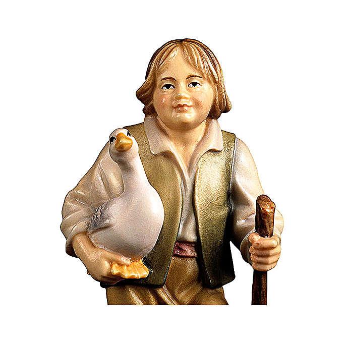 Bambino con oca presepe Original legno dipinto Valgardena 12 cm 4