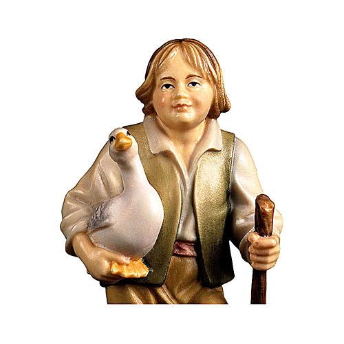 Bambino con oca presepe Original legno dipinto Valgardena 12 cm 2