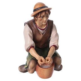 Belén Val Gardena: Pastor que ordeña belén Original madera pintada Val Gardena 12 cm