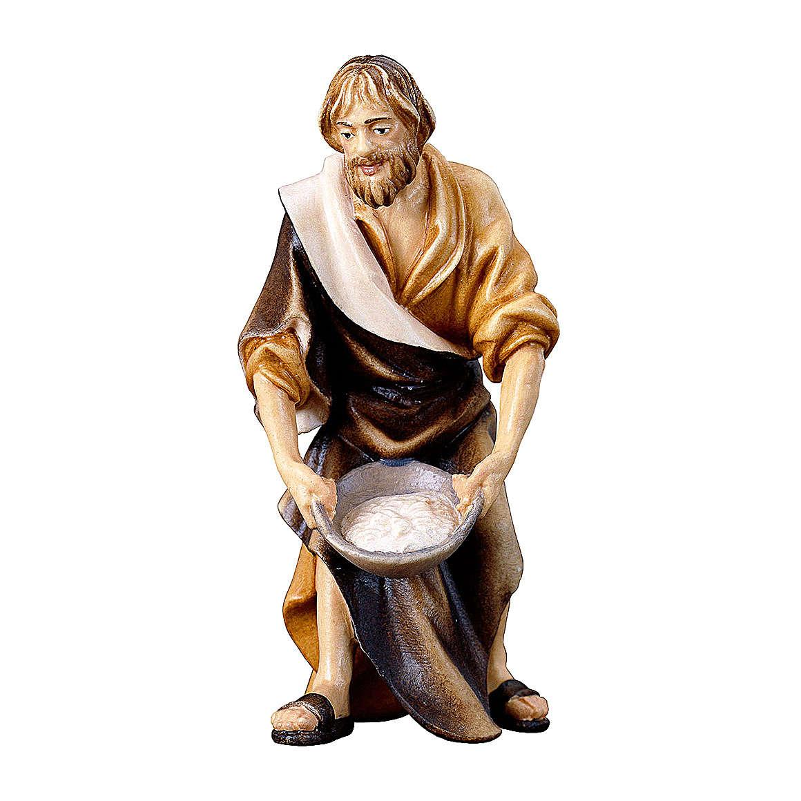 Pastore con sale presepe Original legno dipinto Valgardena 10 cm 4