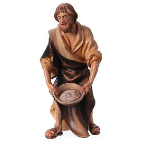 Belén Val Gardena: Pastor con sal belén Original madera pintada Val Gardena 12 cm de altura media