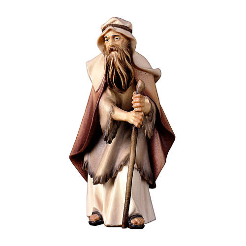 Anziano pastore con bastone presepe Original legno Valgardena 10 cm 1