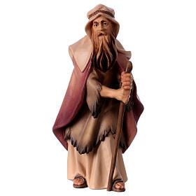 Belén Val Gardena: Pastor anciano con bastón belén Original madera pintada Val Gardena 12 cm de altura media