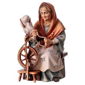 Belén Val Gardena: Campesina anciana con hiladora belén Original madera pintada Val Gardena 12 cm de altura media