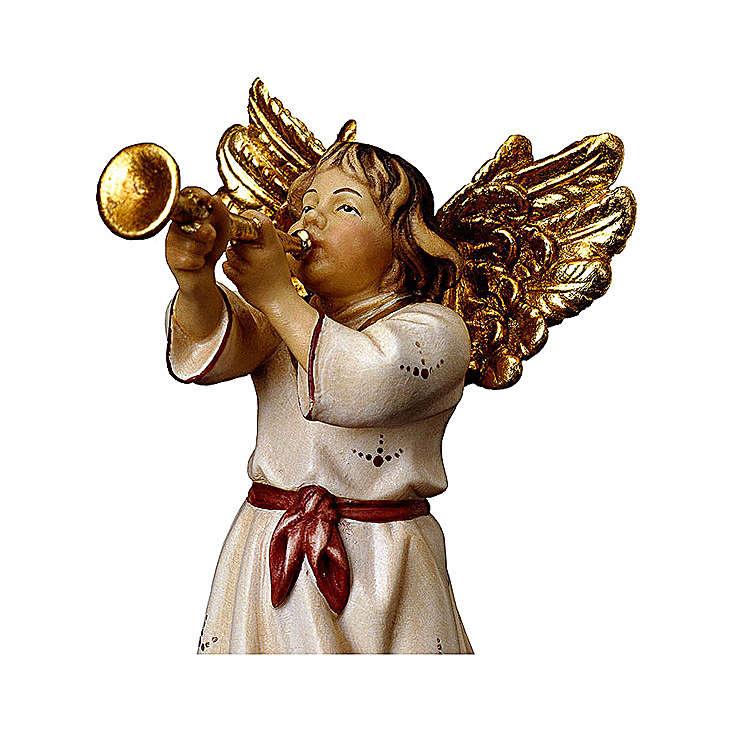 Ángel con trompeta belén Original madera pintada Val Gardena 10 cm de altura media 4