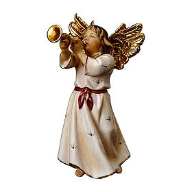 Ángel con trompeta belén Original madera pintada Val Gardena 10 cm de altura media s1