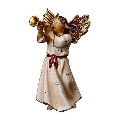 Ángel con trompeta belén Original madera pintada Val Gardena 10 cm de altura media 1