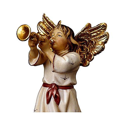 Ángel con trompeta belén Original madera pintada Val Gardena 10 cm de altura media 2