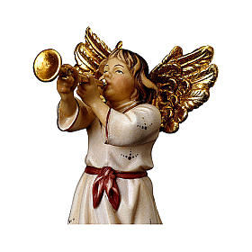 Angelo con tromba presepe Original legno dipinto Valgardena 10 cm s2