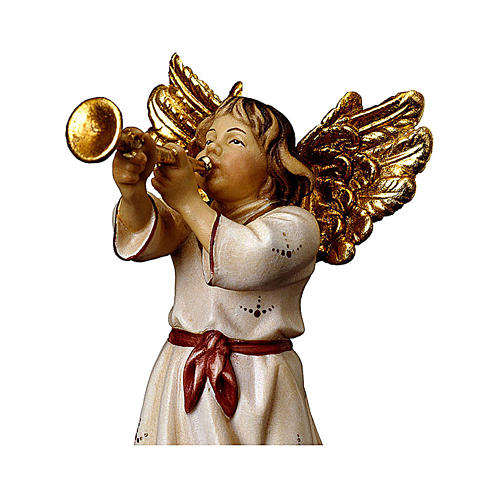 Angelo con tromba presepe Original legno dipinto Valgardena 10 cm 2