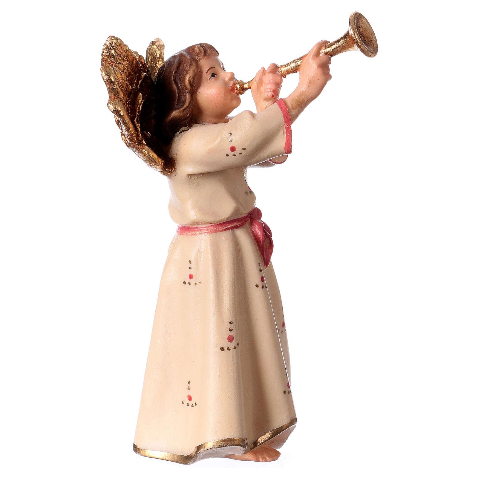 Ángel con trompeta belén Original madera pintada Val Gardena 12 cm de altura media 4