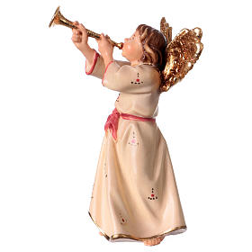 Ángel con trompeta belén Original madera pintada Val Gardena 12 cm de altura media s2