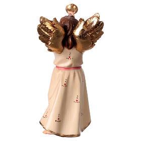 Ángel con trompeta belén Original madera pintada Val Gardena 12 cm de altura media s4